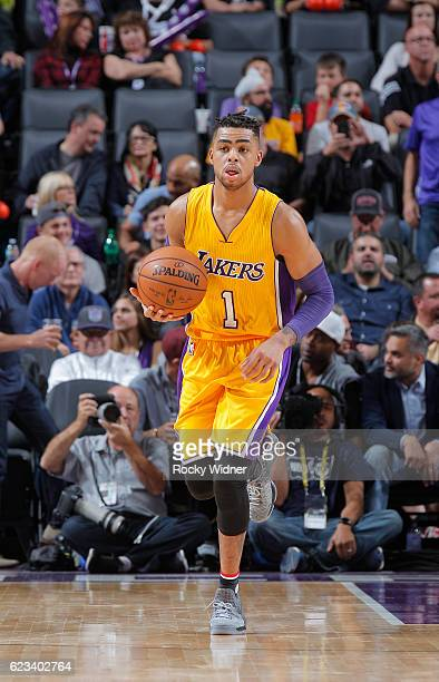 Angelo Russell of the Los Angeles Lakers brings the ball up the court against the Sacramento Kings on November 10 2016 at Golden 1 Center in...