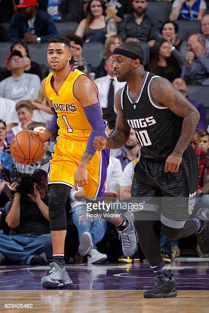 Angelo Russell of the Los Angeles Lakers brings the ball up the court against Ty Lawson of the Sacramento Kings on November 10 2016 at Golden 1...