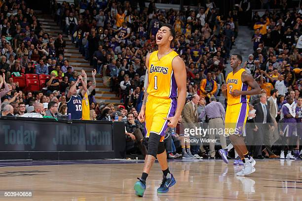 Angelo Russell of the Los Angeles Lakers celebrates against the Sacramento Kings on January 7 2016 at Sleep Train Arena in Sacramento California NOTE...