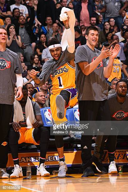 Angelo Russell of the Los Angeles Lakers celebrates on the bench during the game against the Golden State Warriors on November 4 2016 at STAPLES...