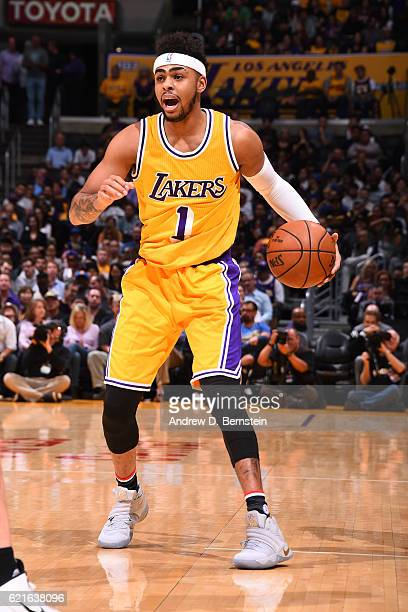 Angelo Russell of the Los Angeles Lakers dribbles the ball against the Golden State Warriors on November 4 2016 at STAPLES Center in Los Angeles...