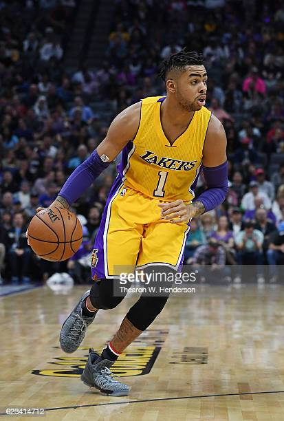 Angelo Russell of the Los Angeles Lakers dribbles the ball against the Sacramento Kings during an NBA basketball game at Golden 1 Center on November...