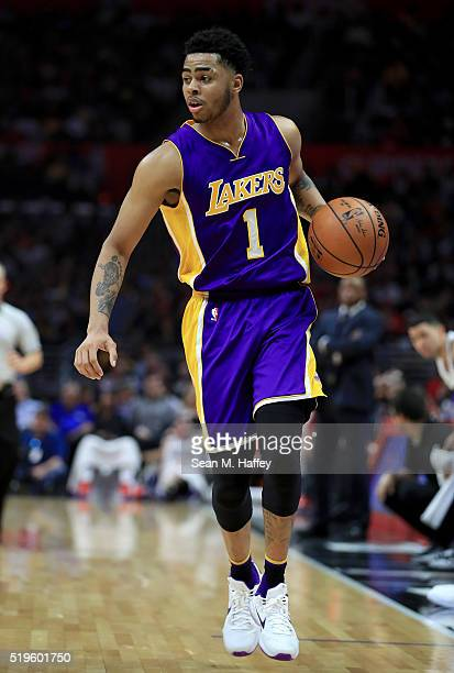 Angelo Russell of the Los Angeles Lakers dribbles upcourt during an NBA game between Los Angeles Clippers vs Los Angeles Lakers April 5 2016 at...