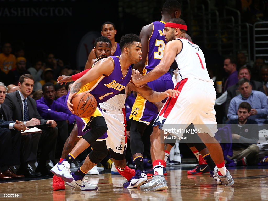 D'Angelo Russell #1 of the Los Angeles Lakers drives to the basket against the Washington Wizards during the game on December 2, 2015 at Verizon Center in Washington, DC.