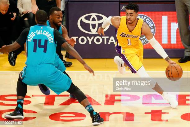 Angelo Russell of the Los Angeles Lakers handles the ball against the Charlotte Hornets on February 28 2017 at STAPLES Center in Los Angeles...