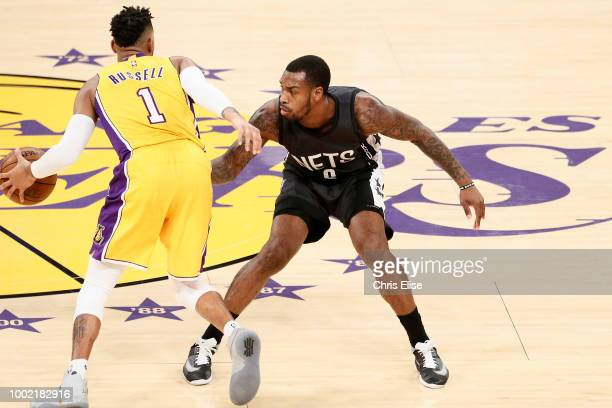 D'Angelo Russell of the Los Angeles Lakers handles the ball against the Brooklyn Nets on November 15 2016 at the Staples Center in Los Angeles...
