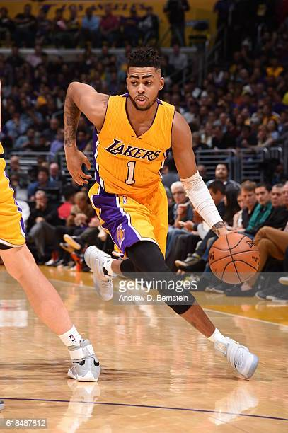 Angelo Russell of the Los Angeles Lakers handles the ball against the Houston Rockets on October 26 2016 at STAPLES Center in Los Angeles California...