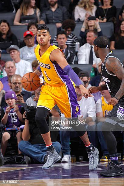 Angelo Russell of the Los Angeles Lakers handles the ball against the Sacramento Kings on November 10 2016 at Golden 1 Center in Sacramento...