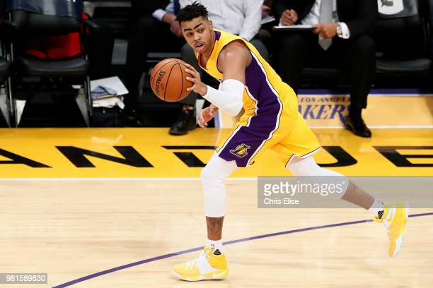 Angelo Russell of the Los Angeles Lakers handles the ball against the Denver Nuggets on January 31 2017 at STAPLES Center in Los Angeles California...
