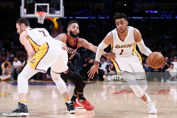Angelo Russell of the Los Angeles Lakers handles the ball against the Portland Trail Blazers on March 26 2017 at STAPLES Center in Los Angeles...