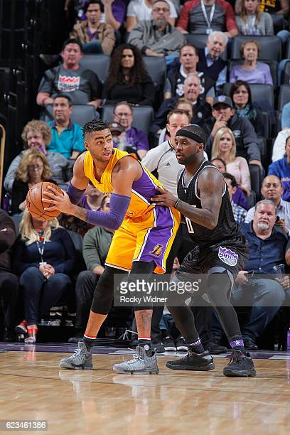 Angelo Russell of the Los Angeles Lakers handles the ball against Ty Lawson of the Sacramento Kings on November 10 2016 at Golden 1 Center in...