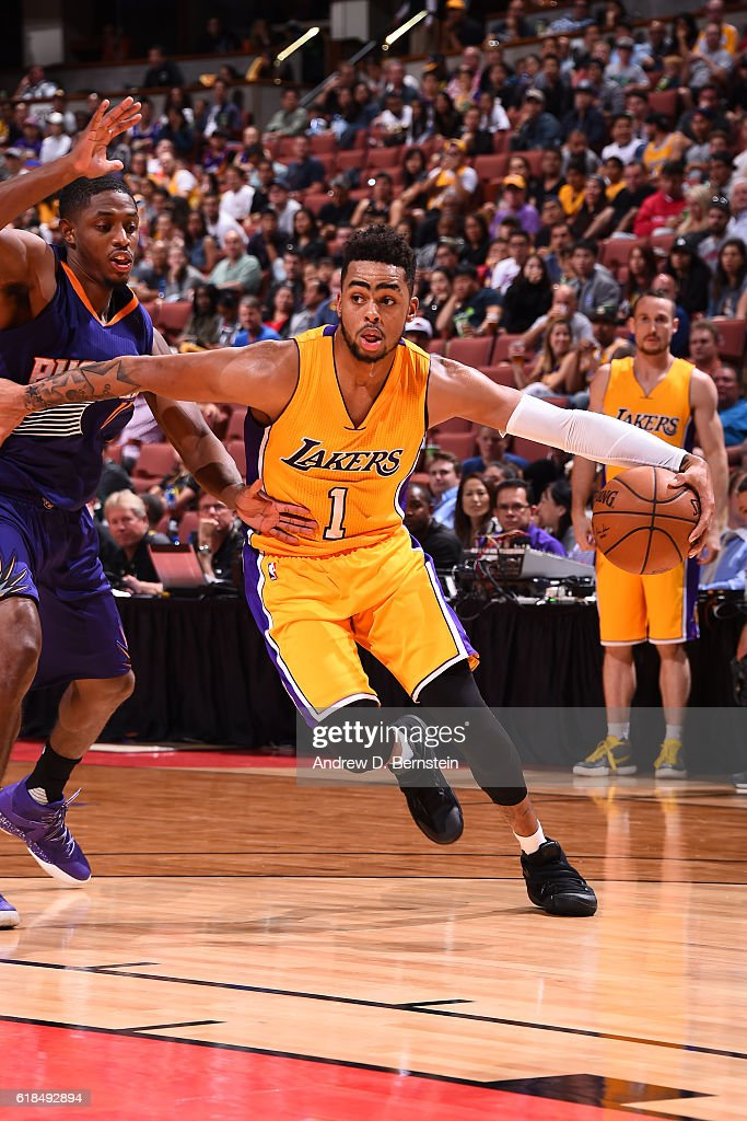D'Angelo Russell #1 of the Los Angeles Lakers handles the ball during a preseason game against the Phoenix Suns on October 21, 2016 at Honda Center in Anaheim, California.