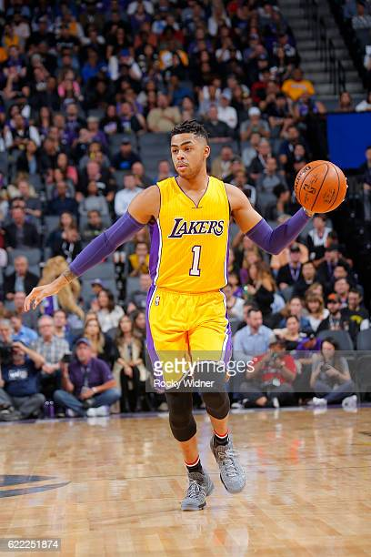 Angelo Russell of the Los Angeles Lakers handles the ball during the game against the Sacramento Kings on November 10 2016 at Sleep Train Arena in...