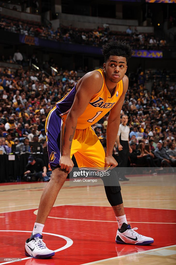 D'Angelo Russell #1 of the Los Angeles Lakers looks on against the Golden State Warriors during a preseason game on October 22, 2015 at Honda Center in Anaheim, California.
