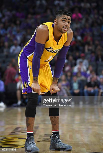 Angelo Russell of the Los Angeles Lakers looks on against the Sacramento Kings during an NBA basketball game at Golden 1 Center on November 10 2016...