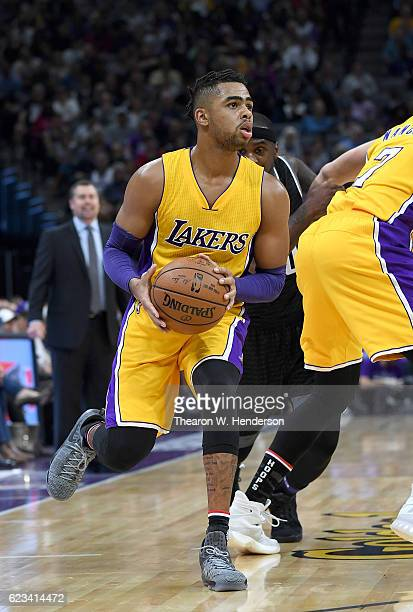 Angelo Russell of the Los Angeles Lakers looks to shoot the ball against the Sacramento Kings during an NBA basketball game at Golden 1 Center on...