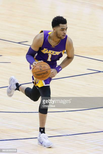 Angelo Russell of the Los Angeles Lakers moves up the court against the Denver Nuggets on March 2 2016 at the Pepsi Center in Los Angeles California...