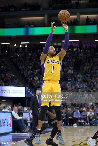 Angelo Russell of the Los Angeles Lakers shoots the ball against the Sacramento Kings during an NBA basketball game at Golden 1 Center on November 10...