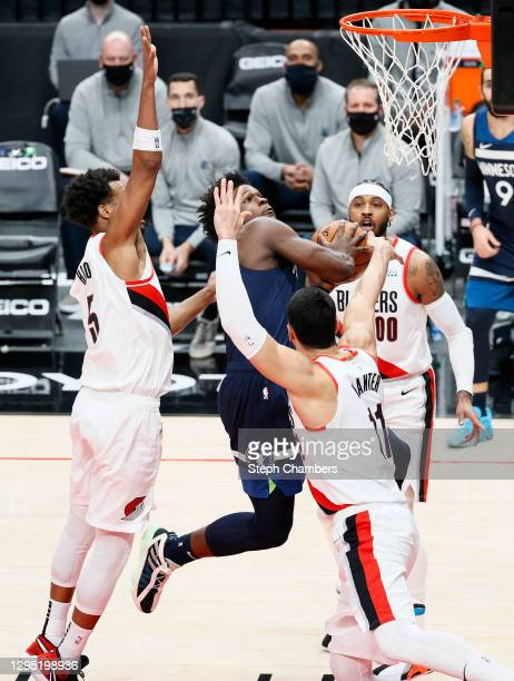 Angelo Russell of the Minnesota Timberwolves shoots against the Portland Trail Blazers during the second quarter at Moda Center on January 07, 2021...