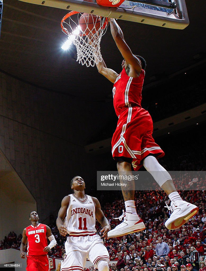 D'Angelo Russell #0 of the Ohio State Buckeyes dunks the ball against the Indiana Hoosiers at Assembly Hall on January 10, 2015 in Bloomington, Indiana. Indiana defeated Ohio State 69-66.