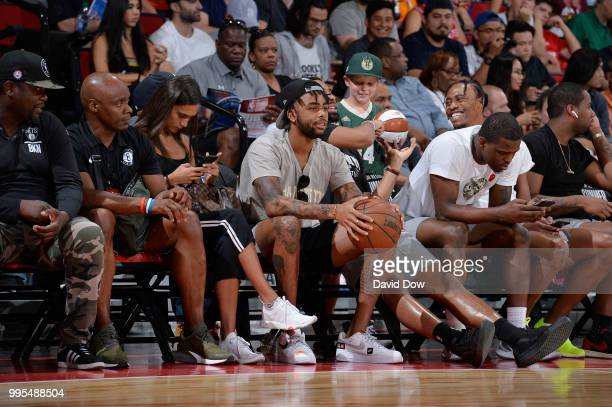 Angelo Russell of the the Brooklyn Nets enjoys the game between the the Brooklyn Nets and the Orlando Magic during the 2018 Las Vegas Summer League...
