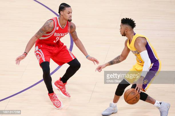 D'Angelo Russell of the the Los Angeles Lakers handles the ball against the Houston Rockets on October 26 2016 at the Staples Center in Los Angeles...