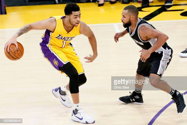 Angelo Russell of the the Los Angeles Lakers handles the ball against the San Antonio Spurs on February 19 2016 at the Staples Center in Los Angeles...