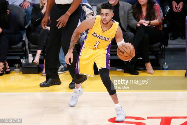 D'Angelo Russell of the the Los Angeles Lakers passes the ball against the Houston Rockets on October 26 2016 at the Staples Center in Los Angeles...