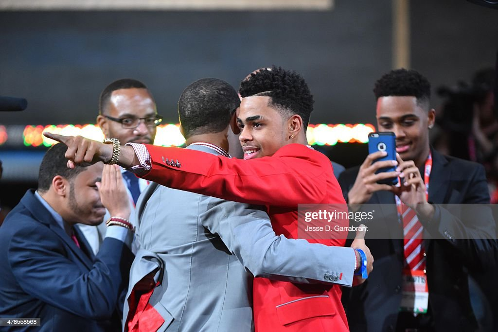 D'Angelo Russell the 3rd pick overall in the NBA Draft by the Los Angeles Lakers during the 2015 NBA Draft at the Barclays Center on June 25, 2015 in the Brooklyn borough of New York City.