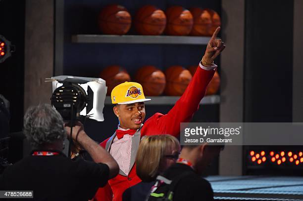 Angelo Russell the pick overall in the 2015 NBA Draft by the Los Angeles Lakers during the 2015 NBA Draft at the Barclays Center on June 25 2015 in...