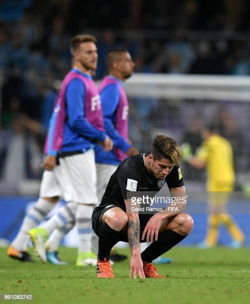 Angelo Sagal of CF Pachuca look dejected after the FIFA Club World Cup UAE 2017 semifinal match between Gremio FBPA and CF Pachuca on December 12...