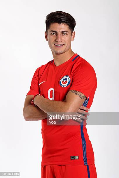 Angelo Sagal of Chile poses during the team presentation ahead of the 2017 Gree China Cup International Football Championship on January 9 2017 in...