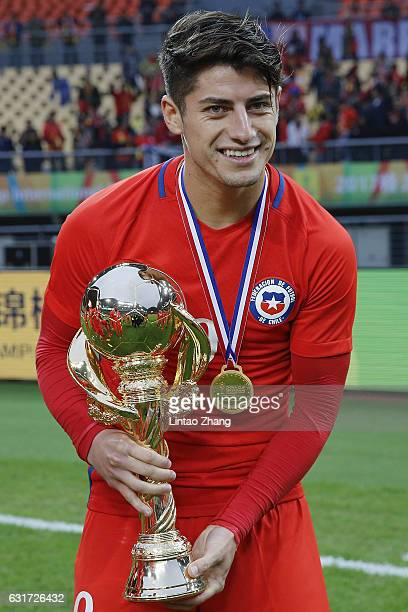 Angelo Sagal of Chile poses with the trophy for a photo after winning the final match of 2017 Gree China Cup International Football Championship...