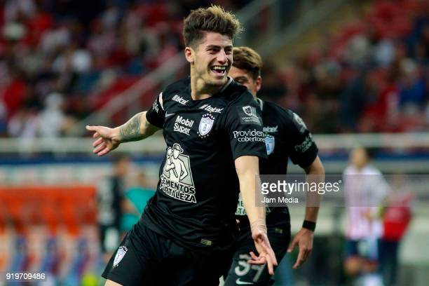 Angelo Sagal of Pachuca celebrates after scoring the first goal of his team during on the 8th round match between Chivas and Pachuca as part of the...