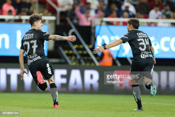 Angelo Sagal of Pachuca celebrates after scoring the first goal of his team during the 8th round match between Chivas and Pachuca as part of the...