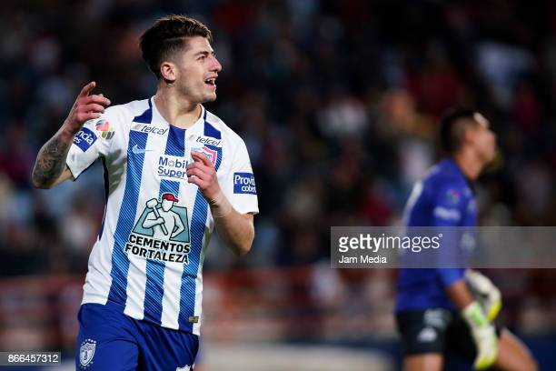Angelo Sagal of Pachuca celebrates after scoring the fourth goal of his team during the round of sixteen match between Pachuca and Zacatepec as part...