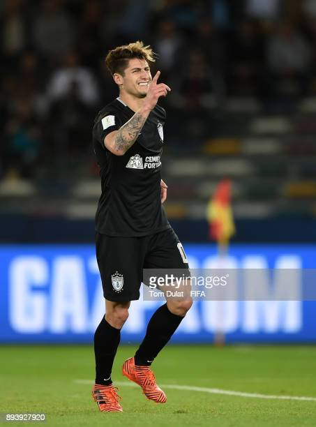 Angelo Sagal of Pachuca celebrates his goal during the FIFA Club World Cup UAE 2017 third place match between Al Jazira and CF Pachuca at Zayed...