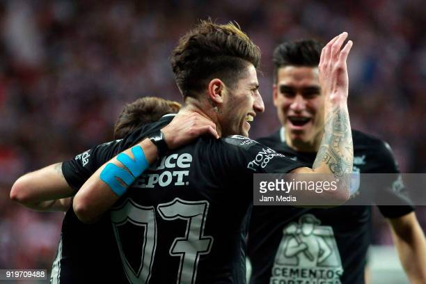 Angelo Sagal of Pachuca celebrates with teammates after scoring the first goal of his team during on the 8th round match between Chivas and Pachuca...