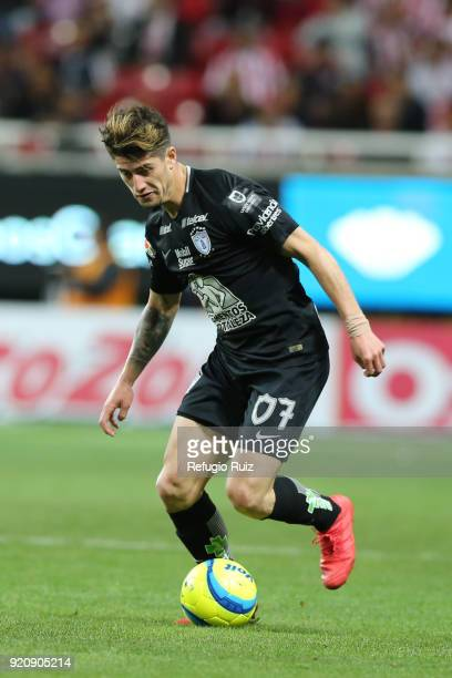 Angelo Sagal of Pachuca drives the ball during the 8th round match between Chivas and Pachuca as part of the Torneo Clausura 2018 Liga MX at Akron...
