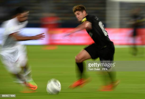Angelo Sagal of Pachuca in action during the FIFA Club World Cup UAE 2017 third place match between Al Jazira and CF Pachuca at Zayed Sports City...