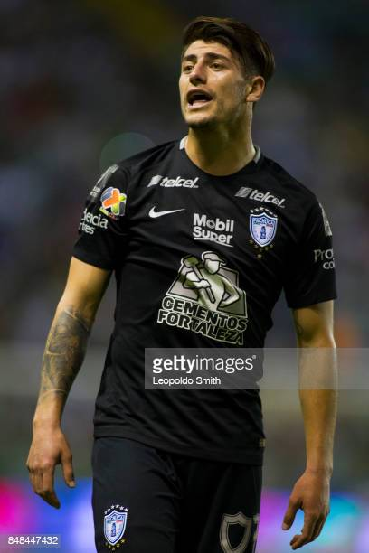 Angelo Sagal of Pachuca reacts during the 9th round match between Leon and Pachuca as part of the Torneo Apertura 2017 Liga MX at Leon Stadium on...