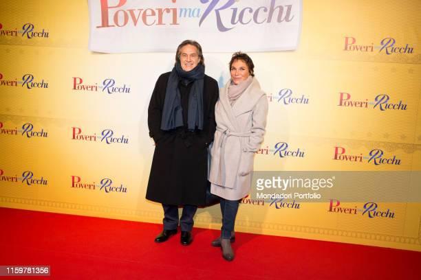 Angelo Sotgiu and Angela Brambati at the Italian premiere of the film Poveri ma Ricchi at cinema Odeon Milan 12th December 2016