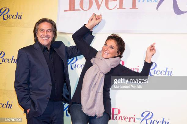 Angelo Sotgiu and Angela Brambati at the Italian premiere of the film Poveri ma Ricchi at cinema Odeon on December 12 2016 in Milan Italy