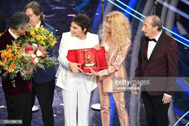 Angelo Sotgiu Angela Brambati Marina Occhiena Franco Gatti aka I Ricchi e Poveri and Rosario Fiorello attend the 70° Festival di Sanremo at Teatro...
