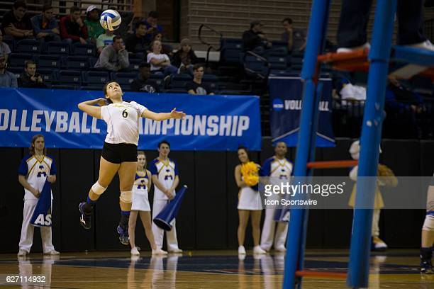 Angelo State defensive specialist Micheala Sifuentes hits the ball during the game between Texas A&M Kingsville Javelina and Angelo State Belles on...
