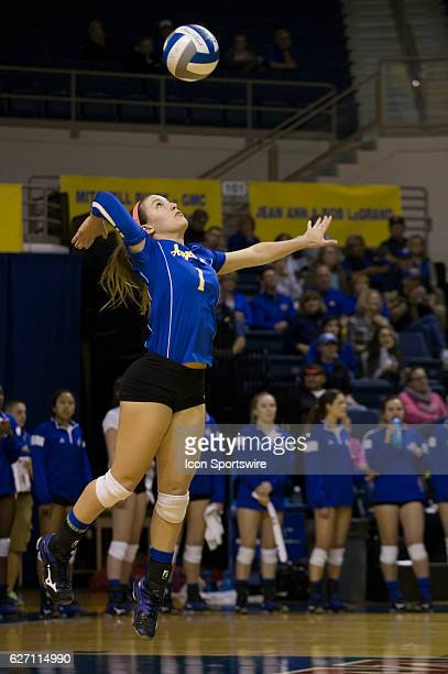 Angelo State libero Mallory Davidson hits the ball during the game between Texas A&M Kingsville Javelina and Angelo State Belles on December 01 in...