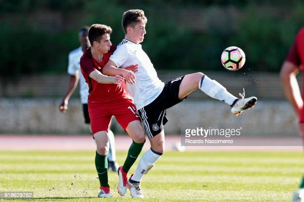 Angelo Stiller of Germany U17 challenges Bernardo Silva of Portugal U17 during U17Juniors Algarve Cup match between U17 Portugal and U17 Germany at...