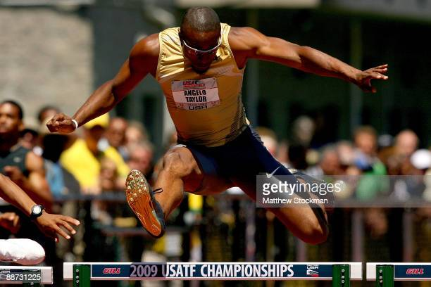 Angelo Taylor competes in the 400 meter hurdles final during the USA Outdoor Track & Field Championships at Hayward Field on June 28, 2009 in Eugene,...