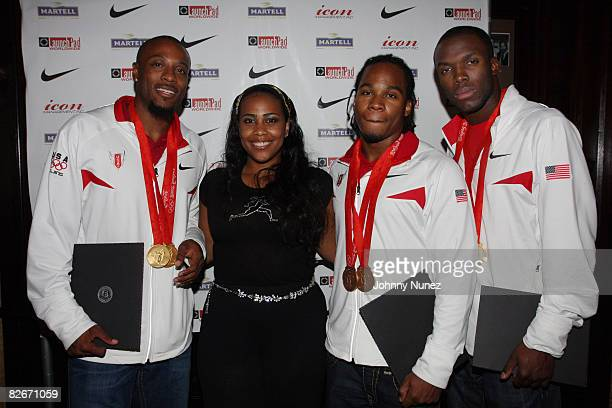 Angelo Taylor Kim Holland Walter Dix and La Shawn Merritt attend the Victory Celebration Honoring US Olympic Medalists at the Friars Club on...