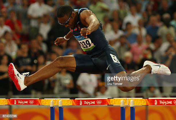 Angelo Taylor of the United States competes in the Men's 400m Hurdles Final at the National Stadium on Day 10 of the Beijing 2008 Olympic Games on...